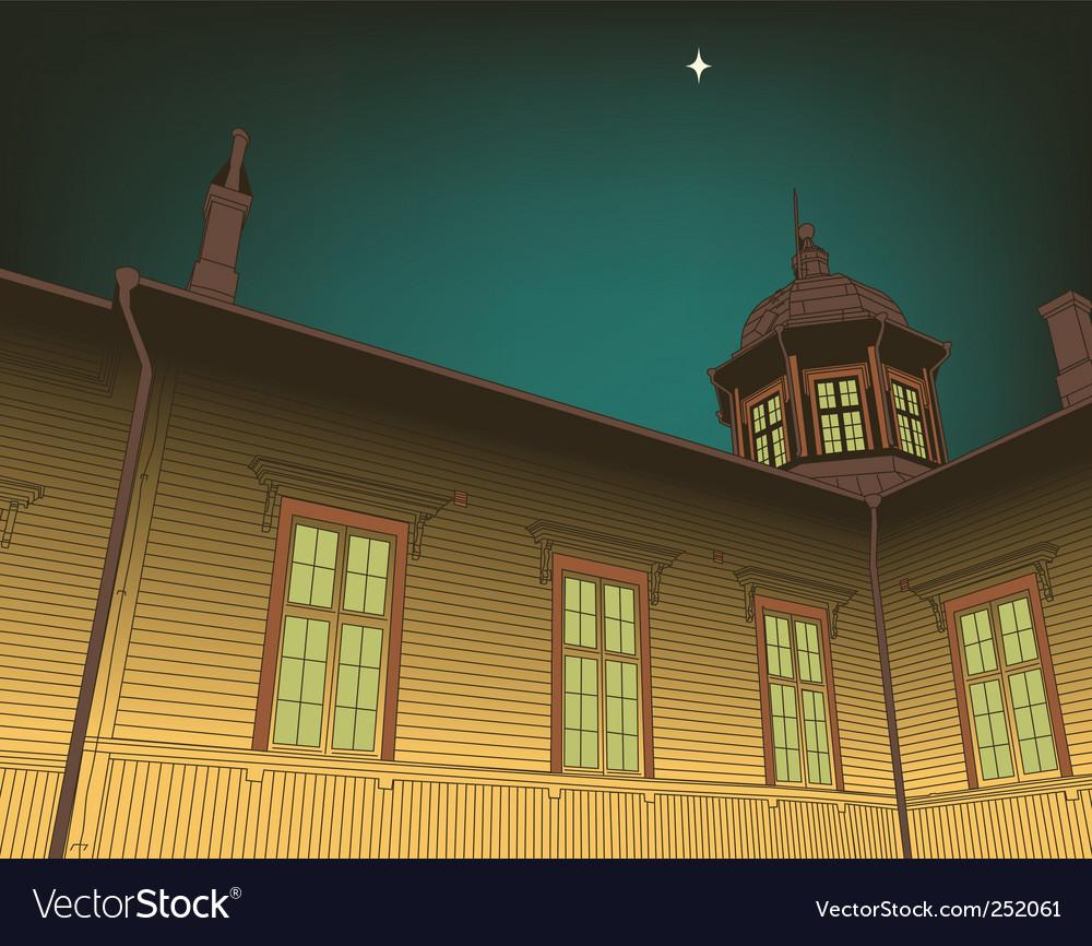 Wooden church vector image