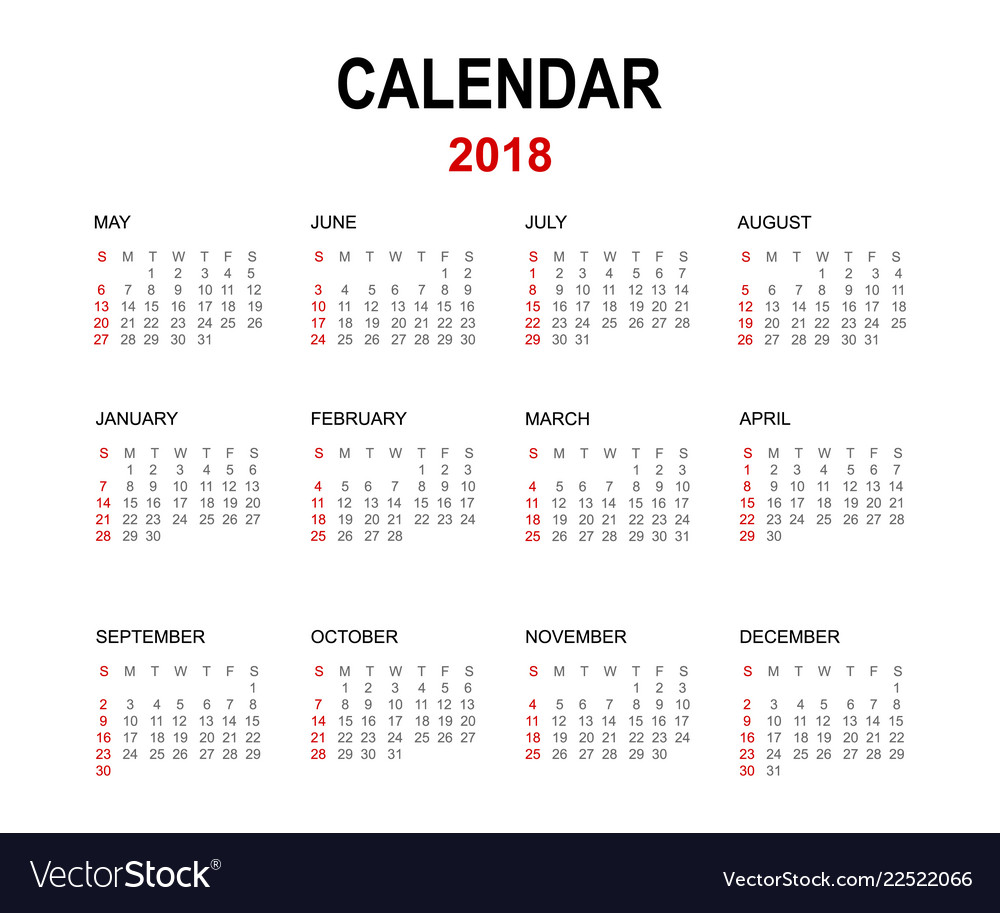 2018 calendar isolated on white background