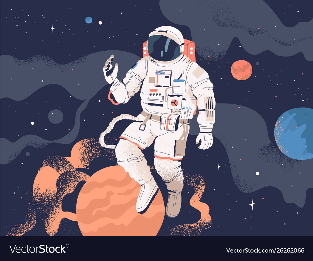 Astronaut exploring outer space cosmonaut in
