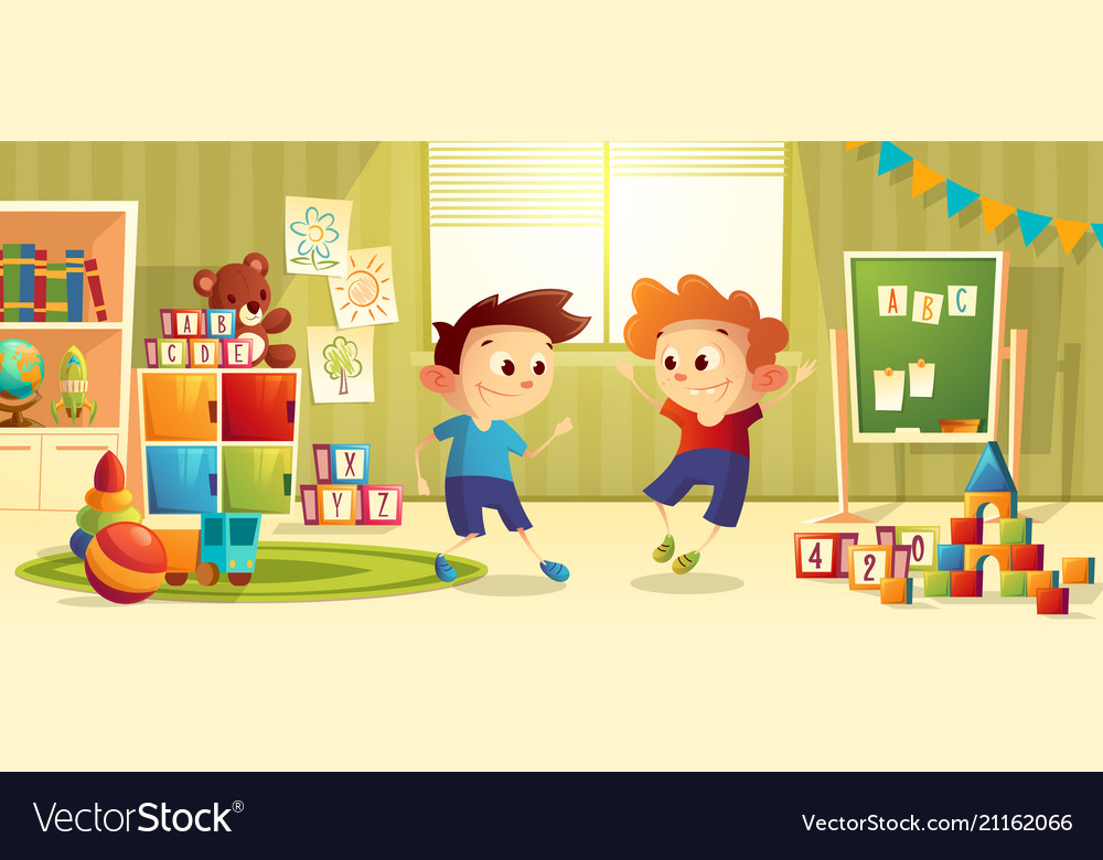Cartoon preschool kindergarten with boys