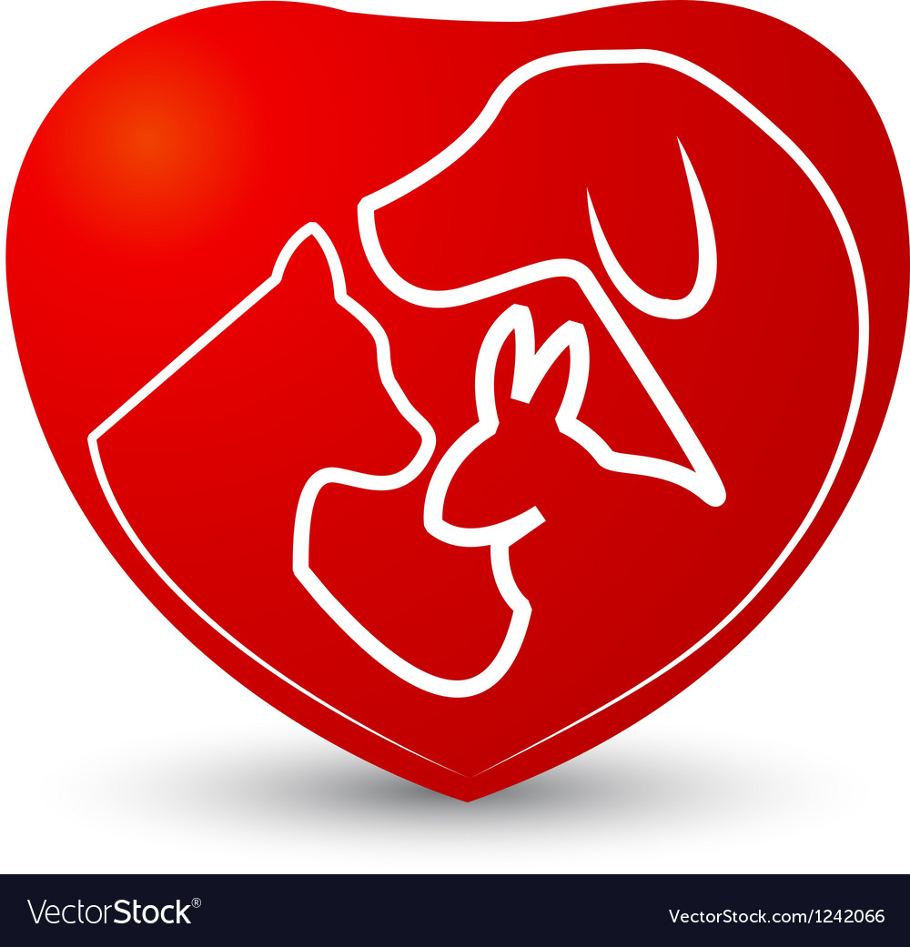 Cat dog and rabbit in a heart vector image
