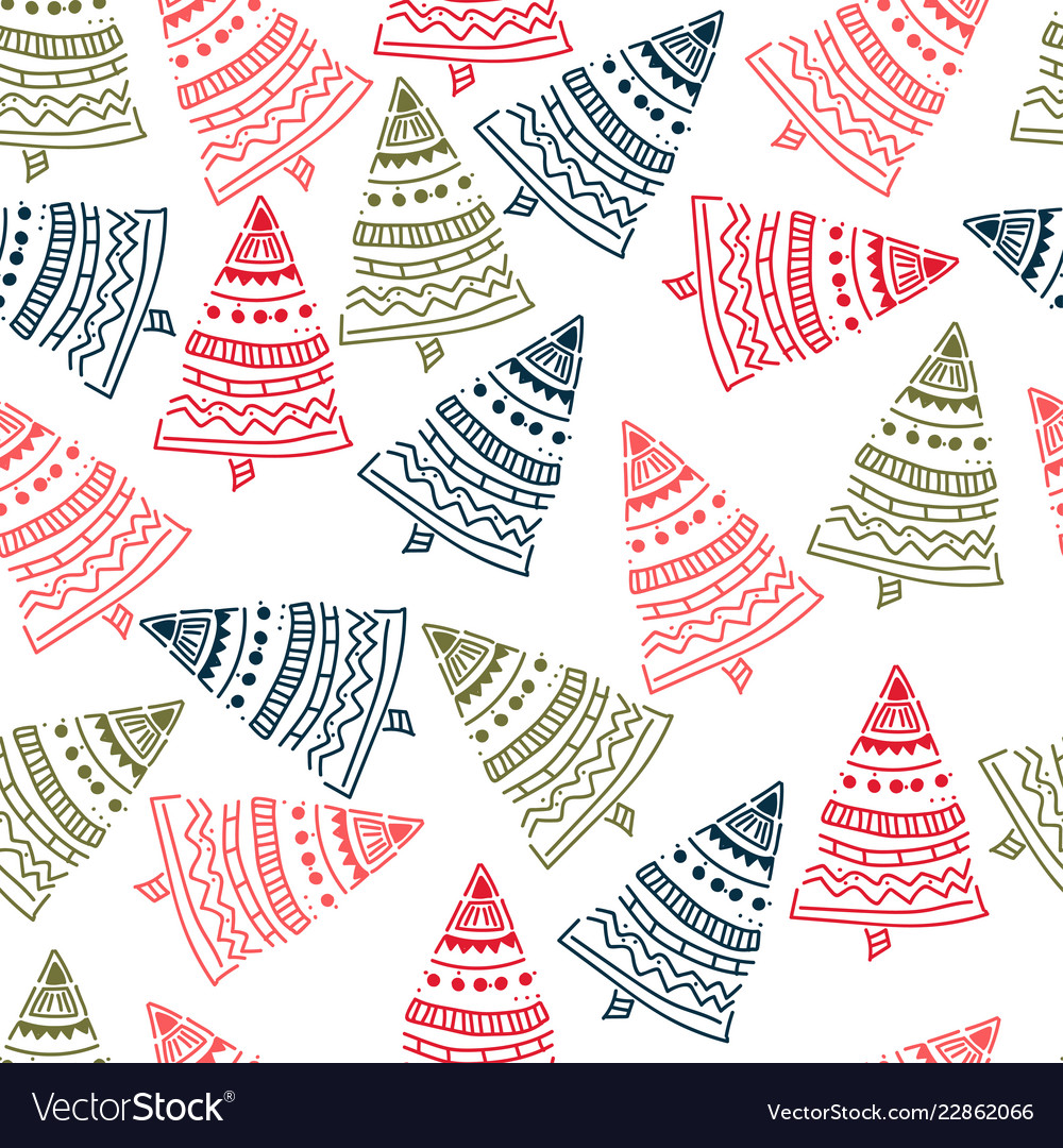Christmas tree hand drawn pattern background