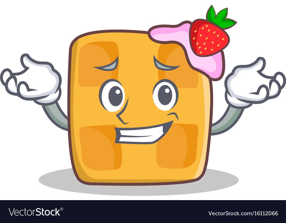 Confused face waffle character cartoon design Vector Image Cartoon Waffle With Face