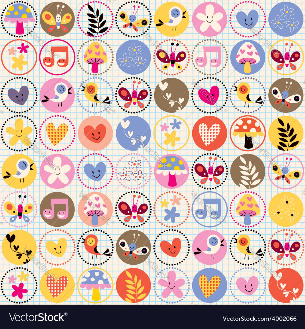 Cute flowers birds hearts pattern vector image