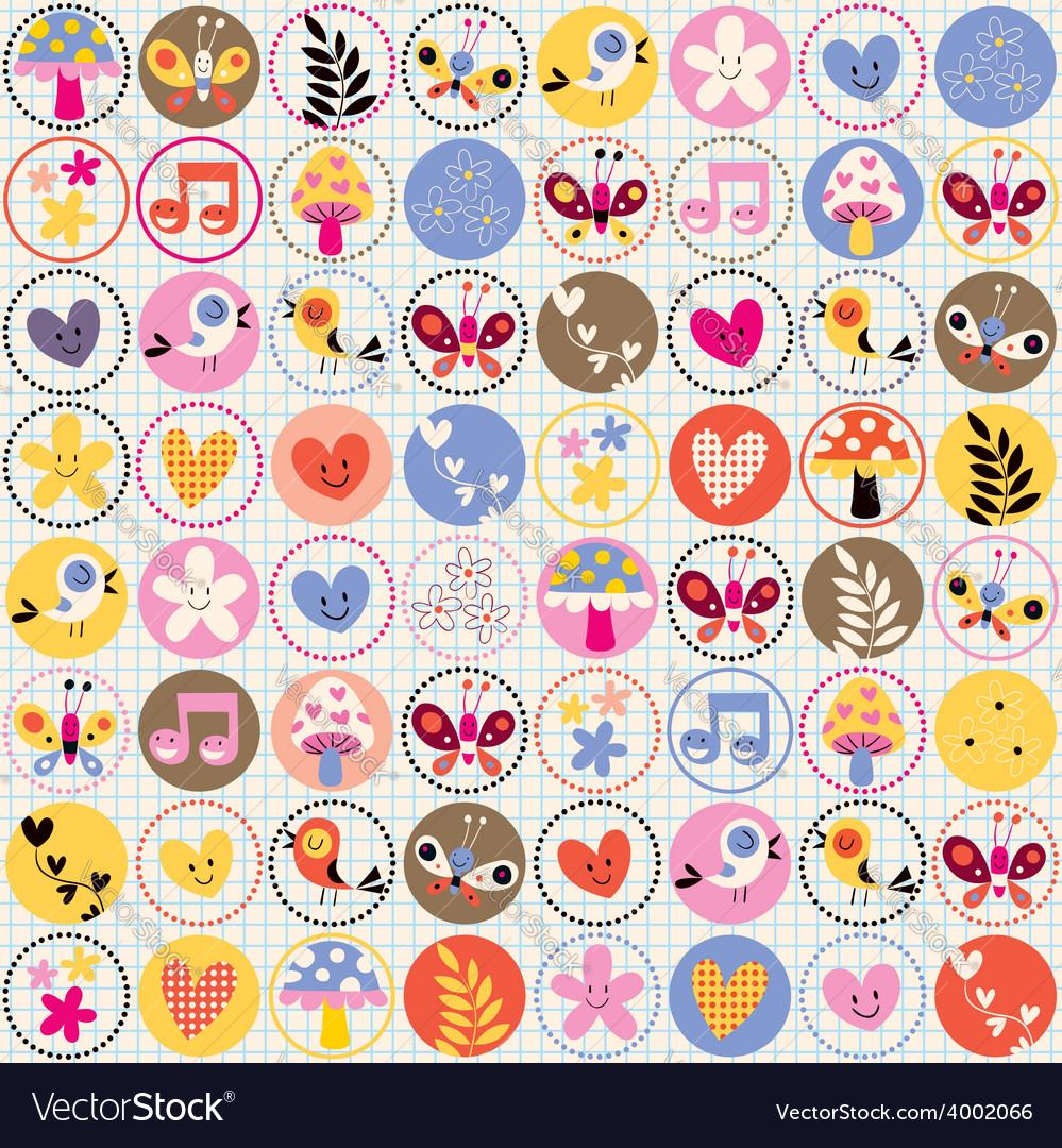 Cute flowers birds hearts pattern