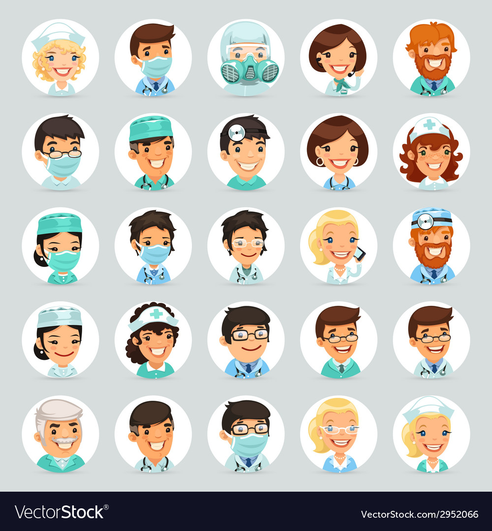 Doctors Cartoon Characters Icons Set2 vector image