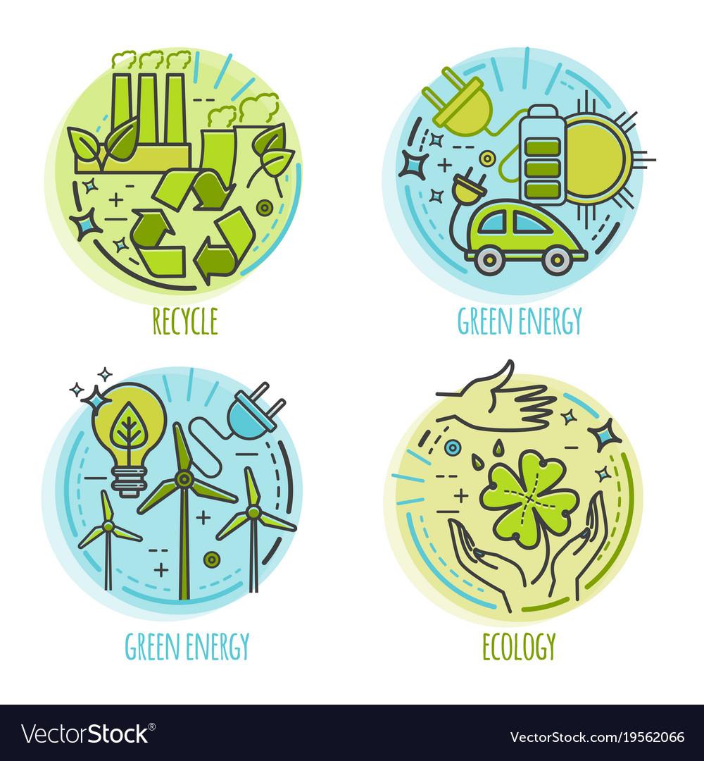 Ecology green technology organic bio design vector image