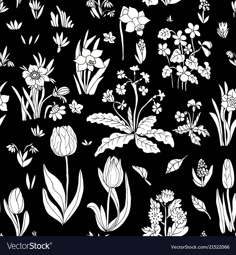 Flowers seamless pattern collection set on black