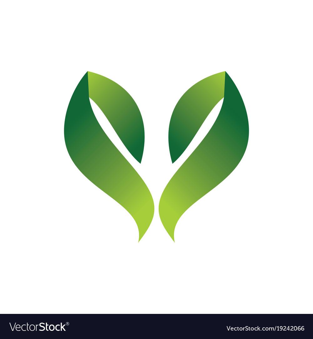 Green leaf hearth 3d logo
