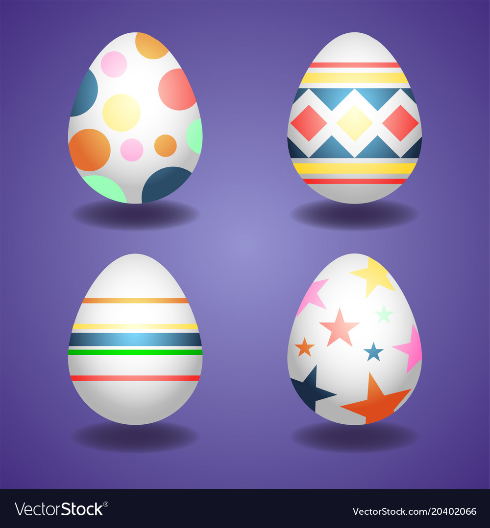 Happy easterset of easter eggs spring holiday vector image