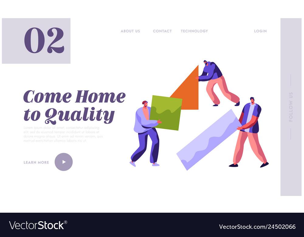Human builder construction color home landing page