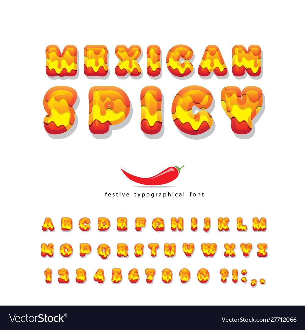 Mexican spicy cartoon font hot chili pepper burn