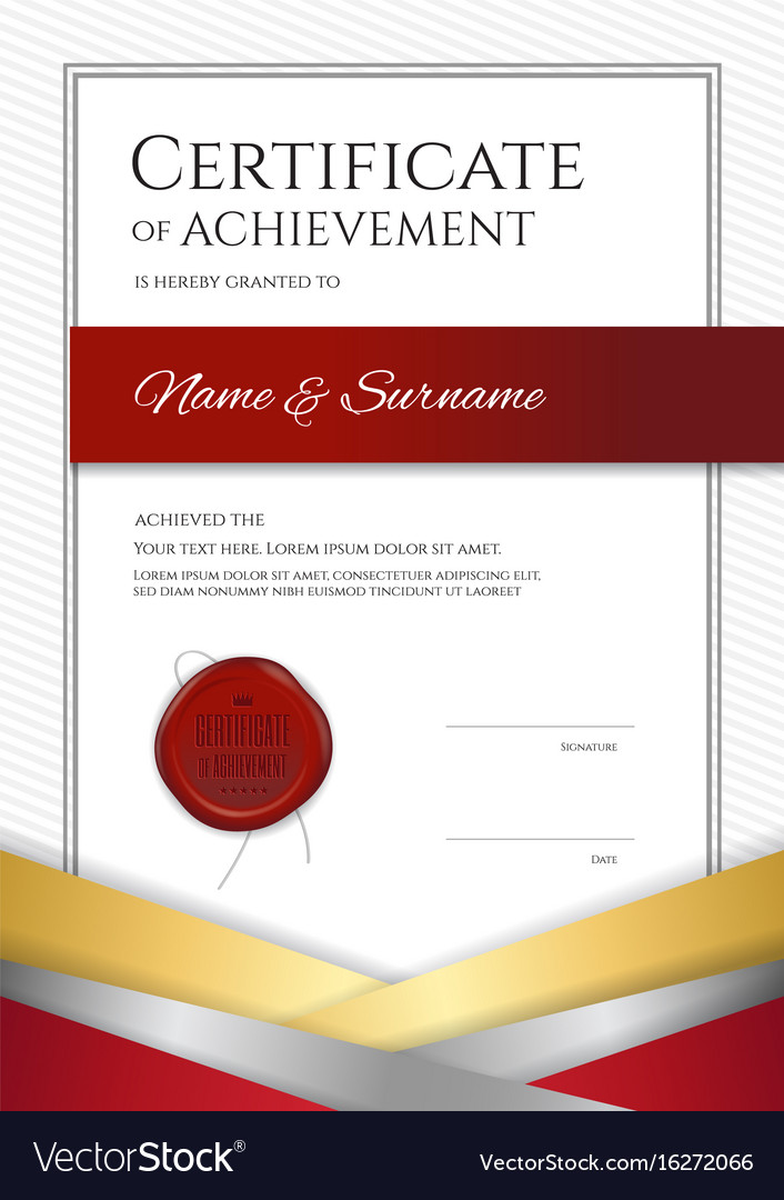 portrait luxury certificate template with elegant vector image