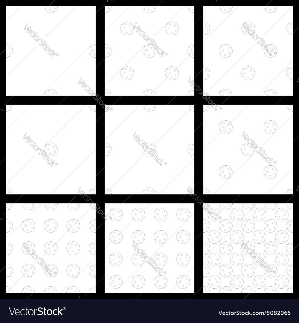 Set The seamless pattern of floorball balls vector image