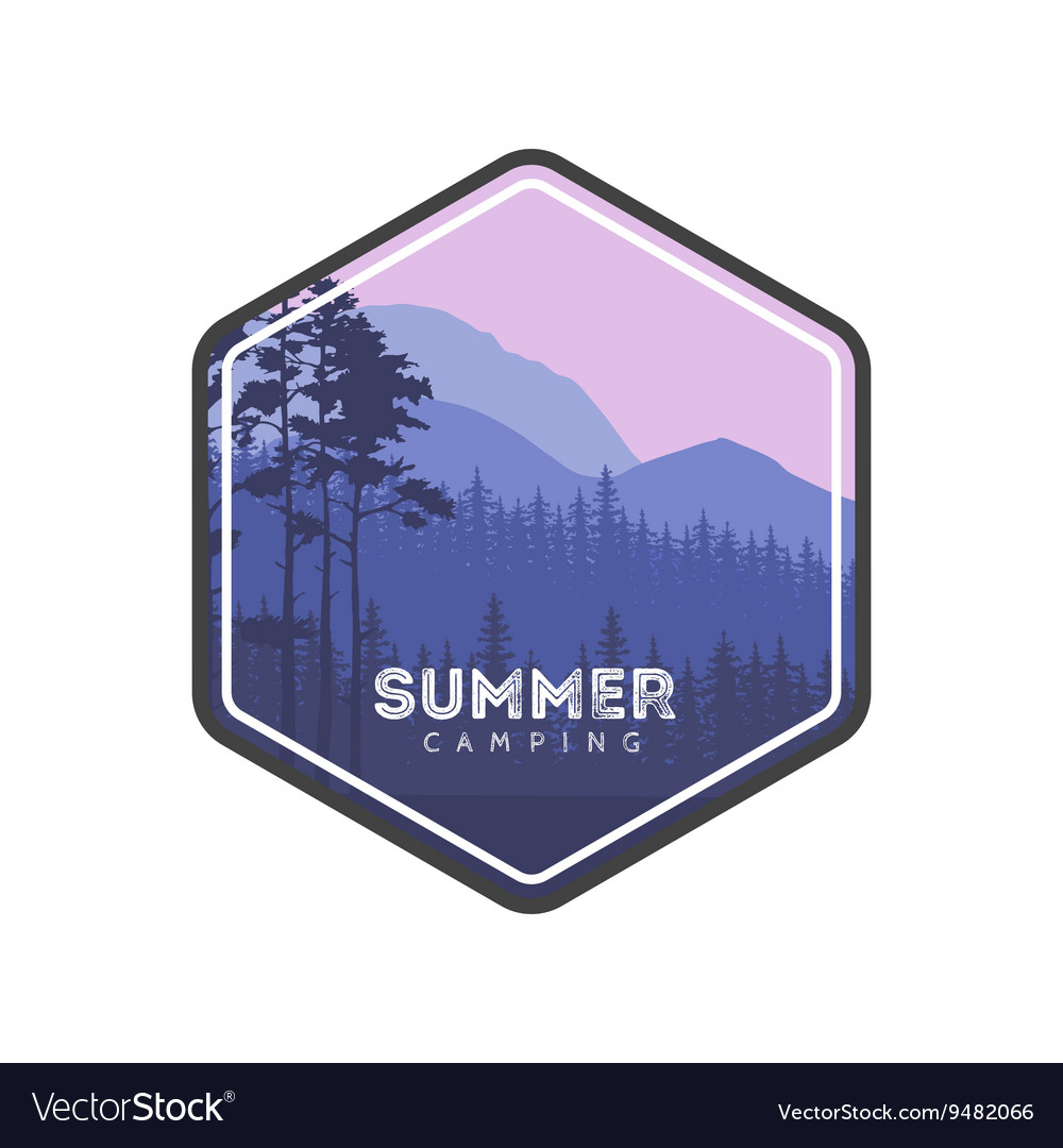 Summer camping label Hiking family vacation in