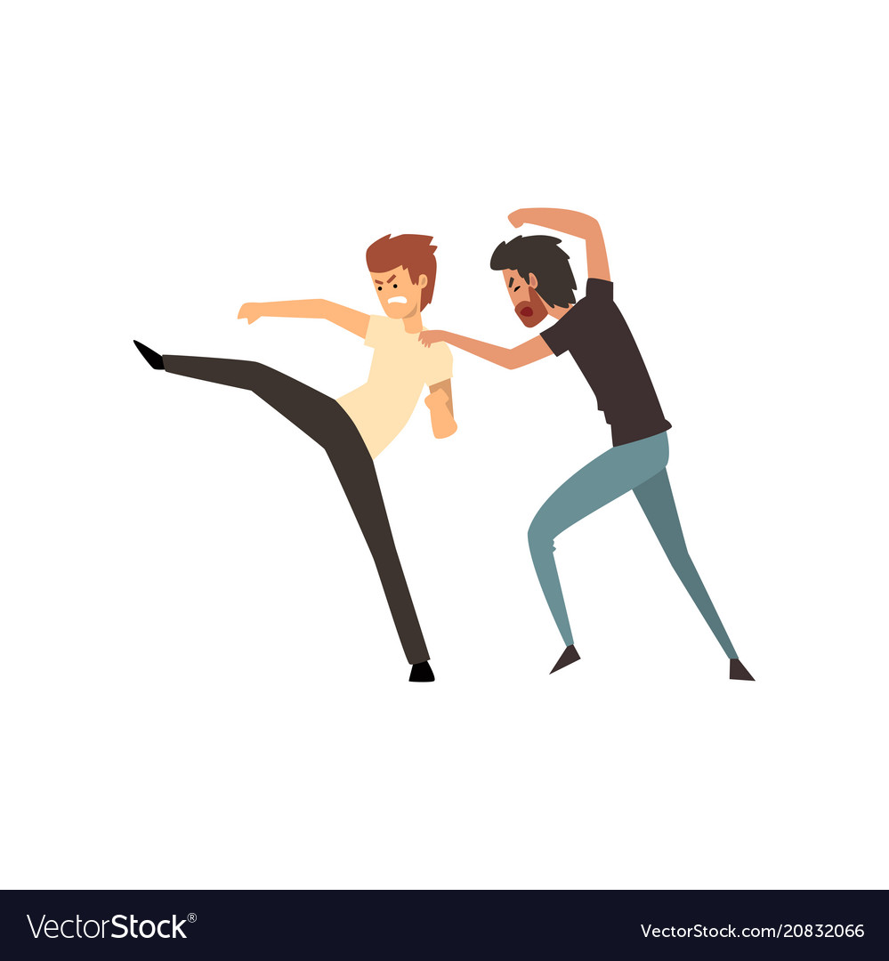 Two aggressive men fighting on