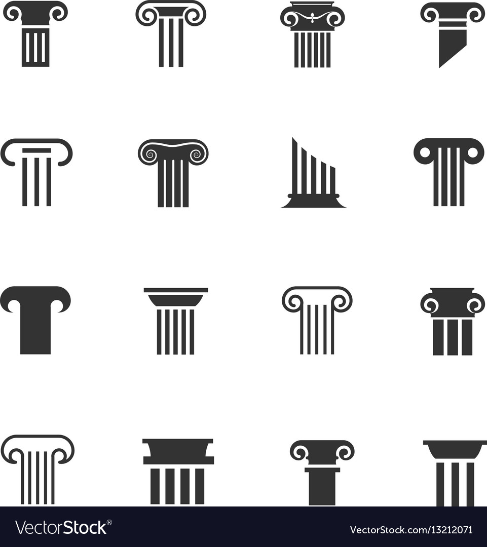 Ancient greek and roman column icons