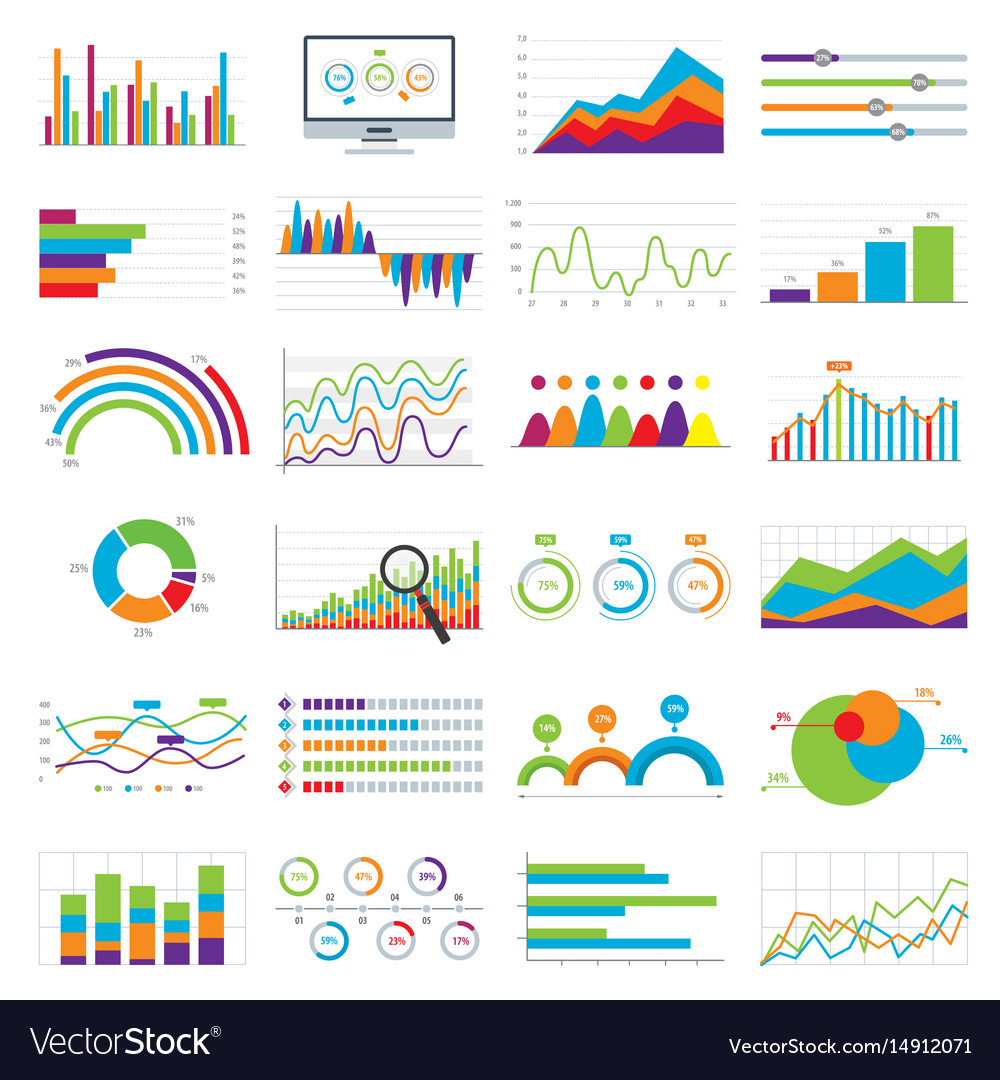 Business data market charts diagrams and graphs