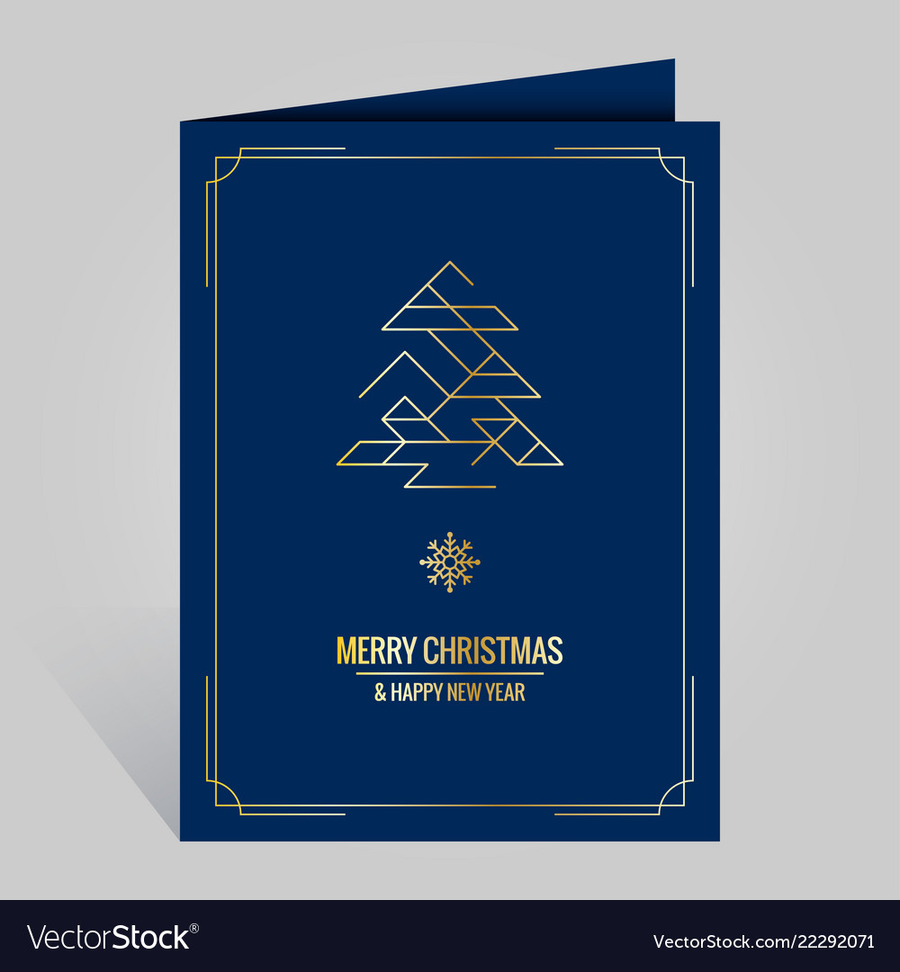 Christmas card with vintage golden xmas tree on