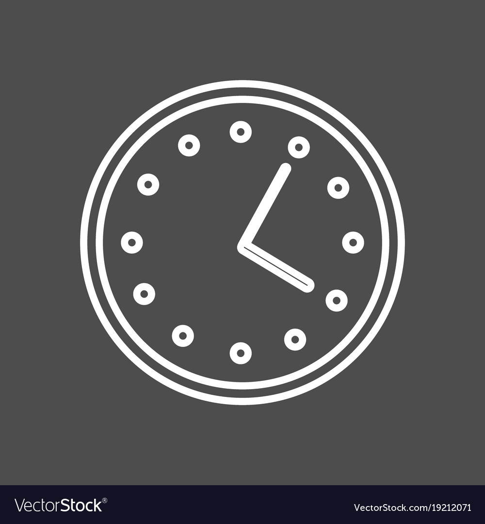 Circular wall clock line icon outline sign vector image