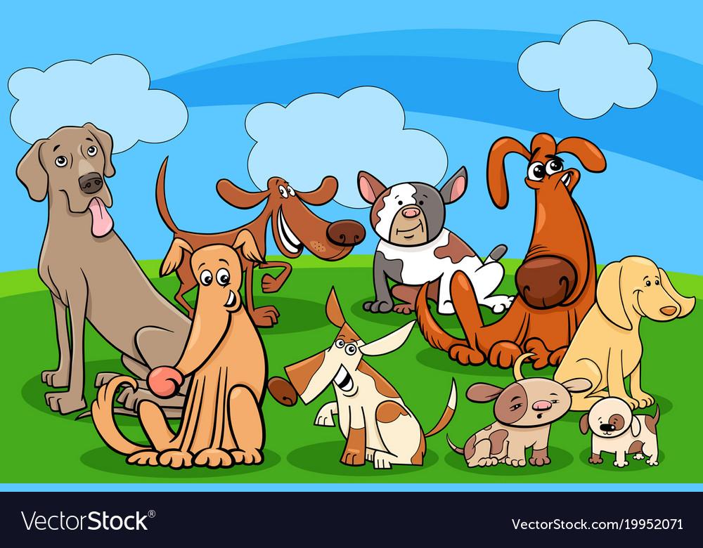 Dog characters group cartoon
