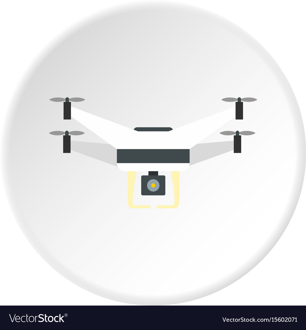 Drone with camera icon circle vector image