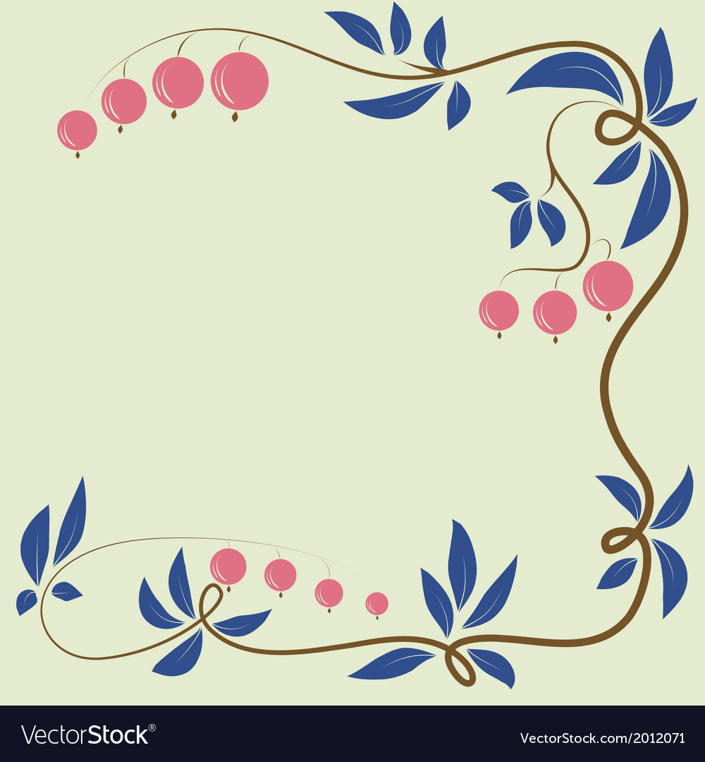 Floral berry background with berries and leaves
