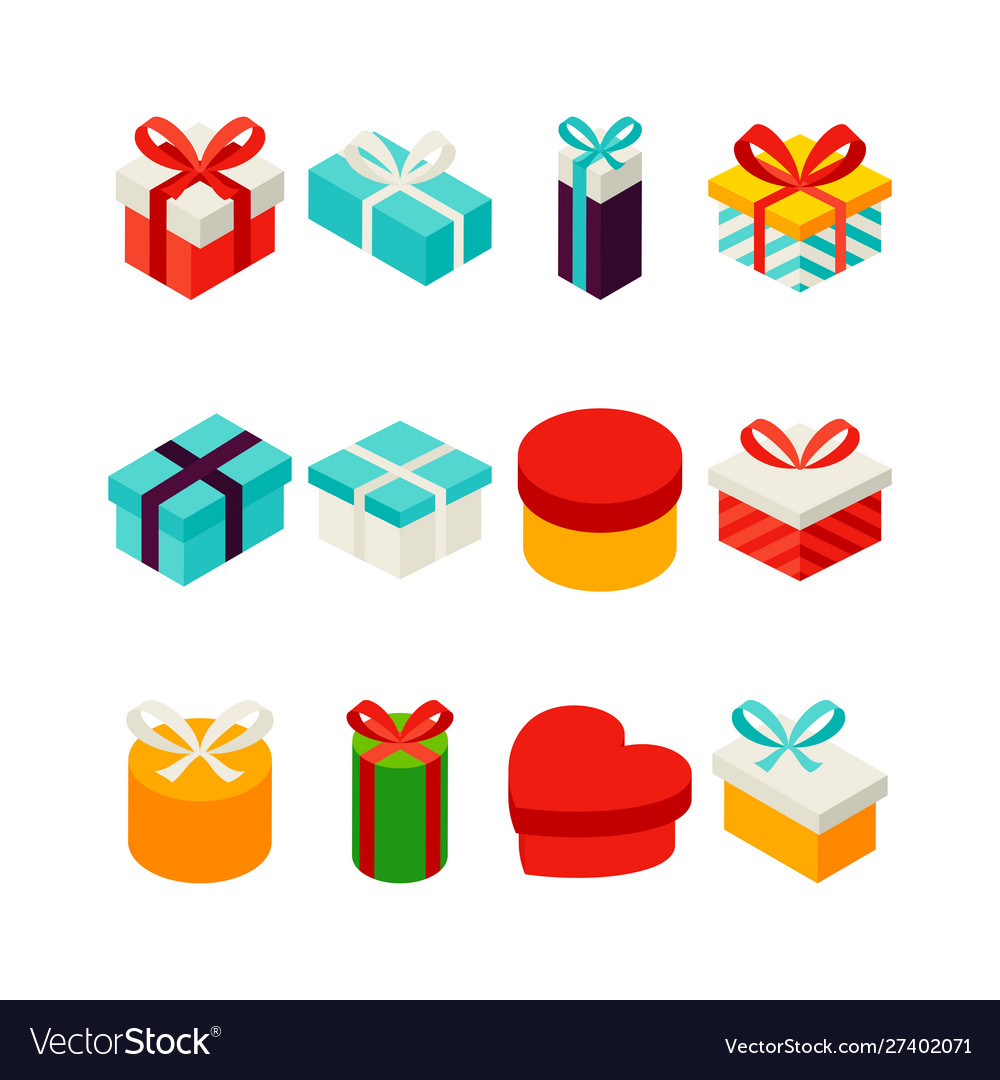 Gift box isometric set