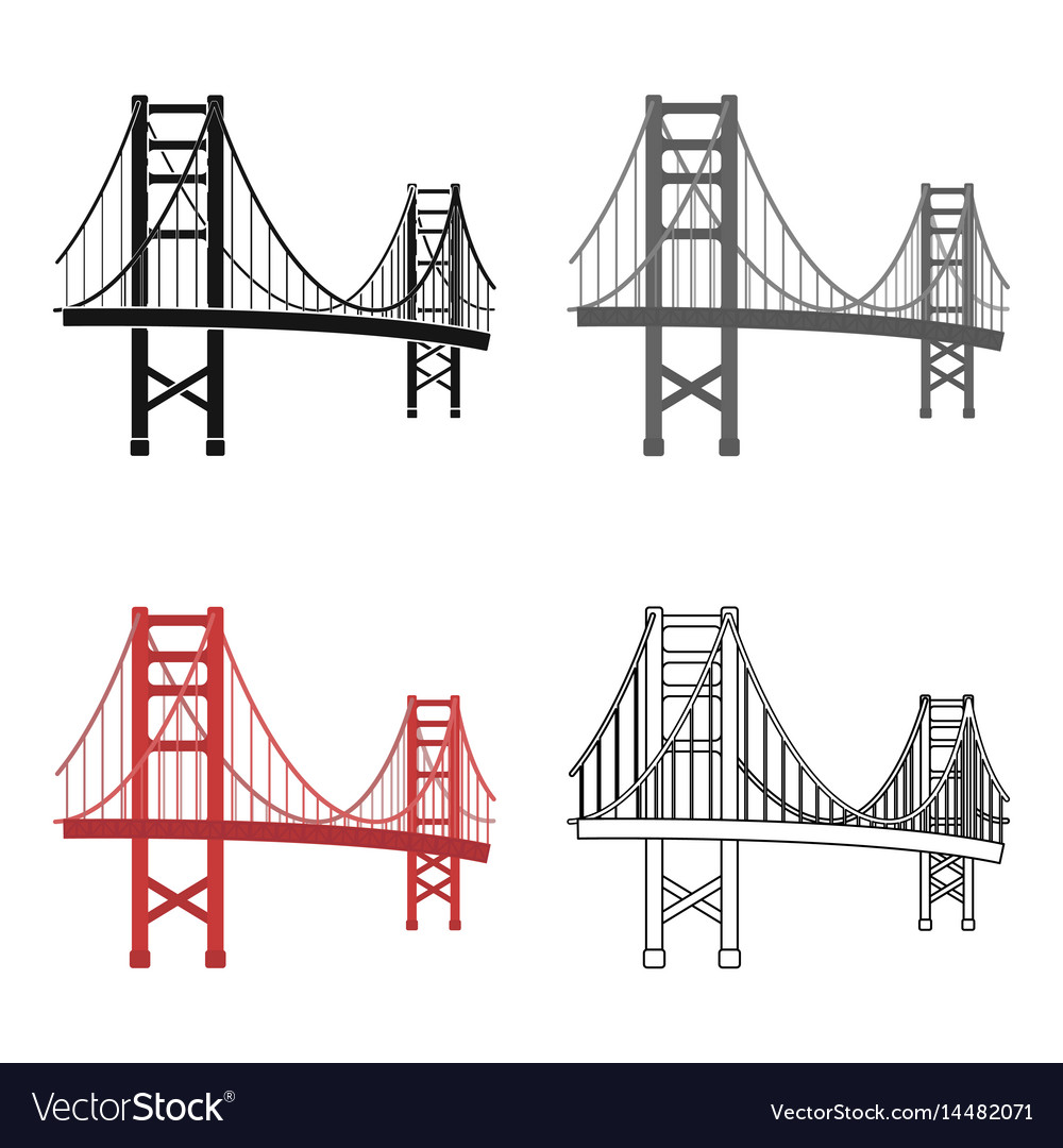 Golden gate bridge icon in cartoon style isolated