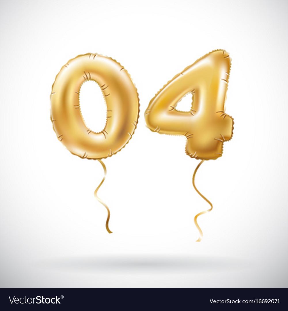 Golden number 04 zero four metallic balloon party