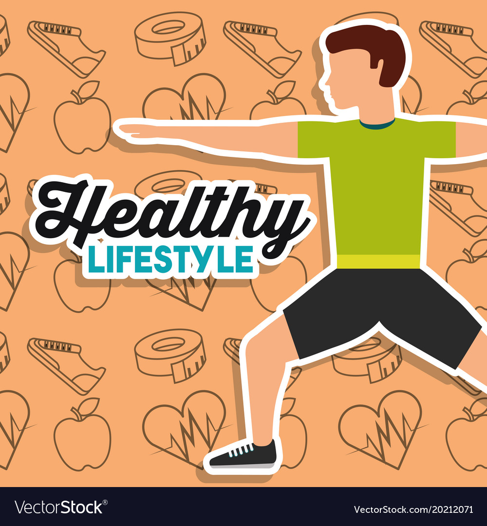 Healthy lifestyle man stretching training sport vector image