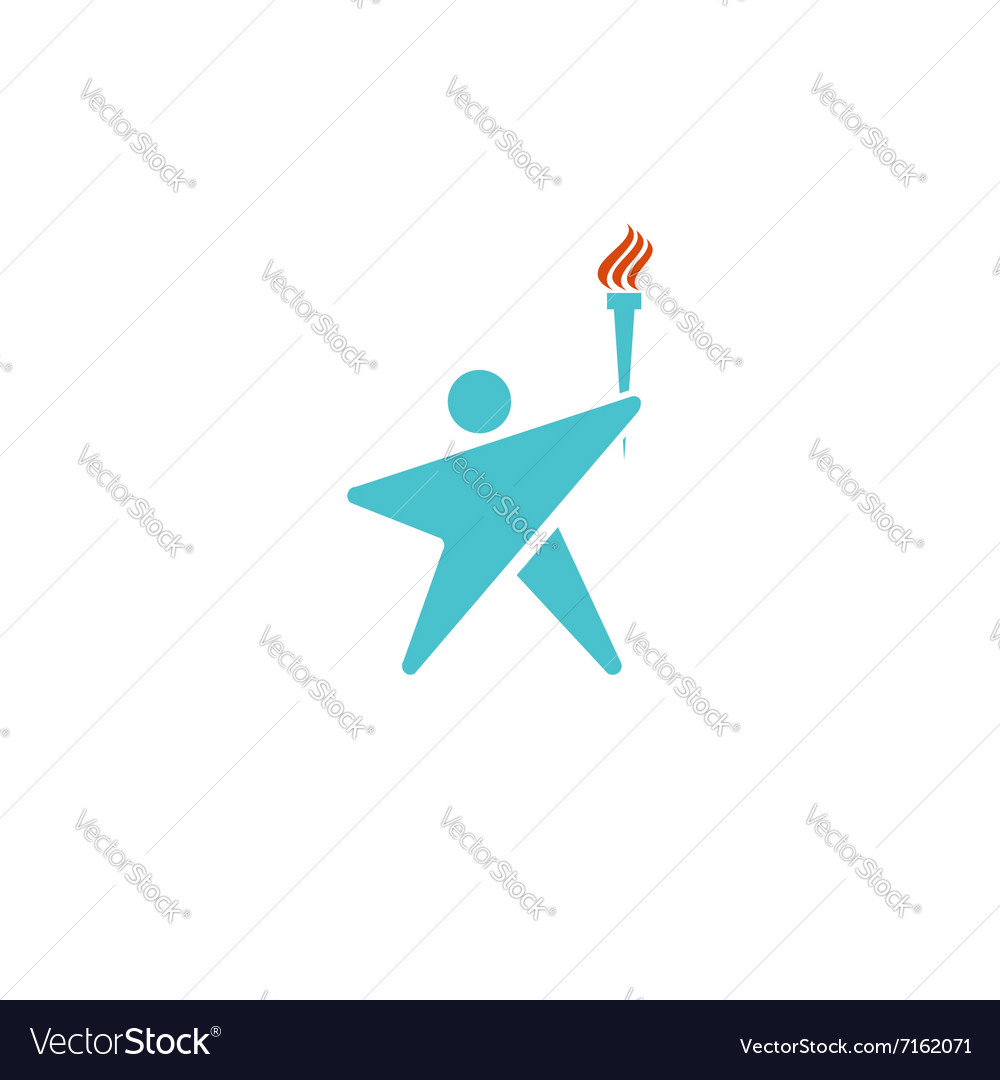 Leader human logo torch fire man silhouette shaped