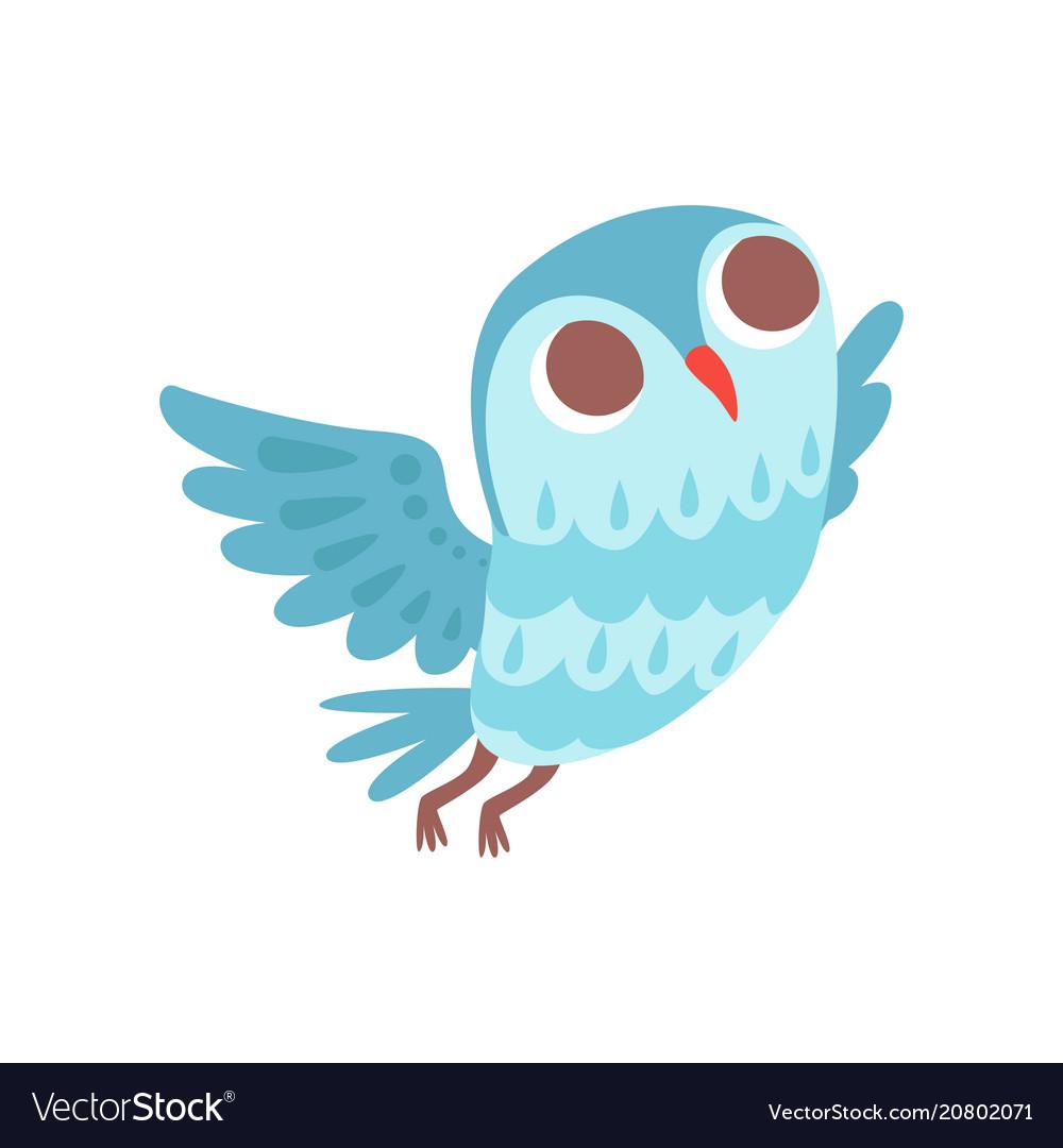 Lovely cartoon light blue owlet bird character