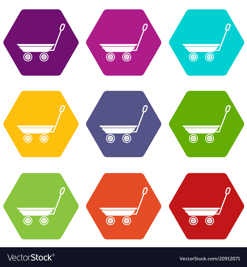 Market trolley icons set 9