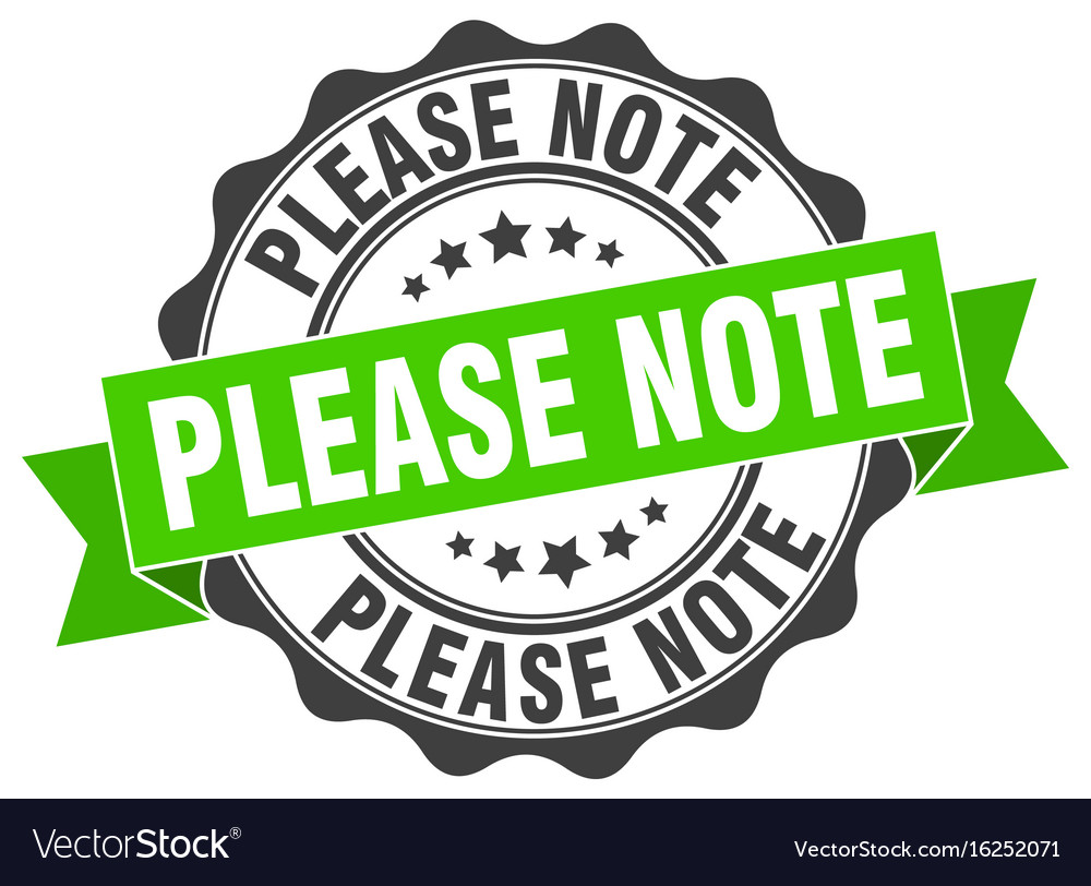 Please note stamp sign seal