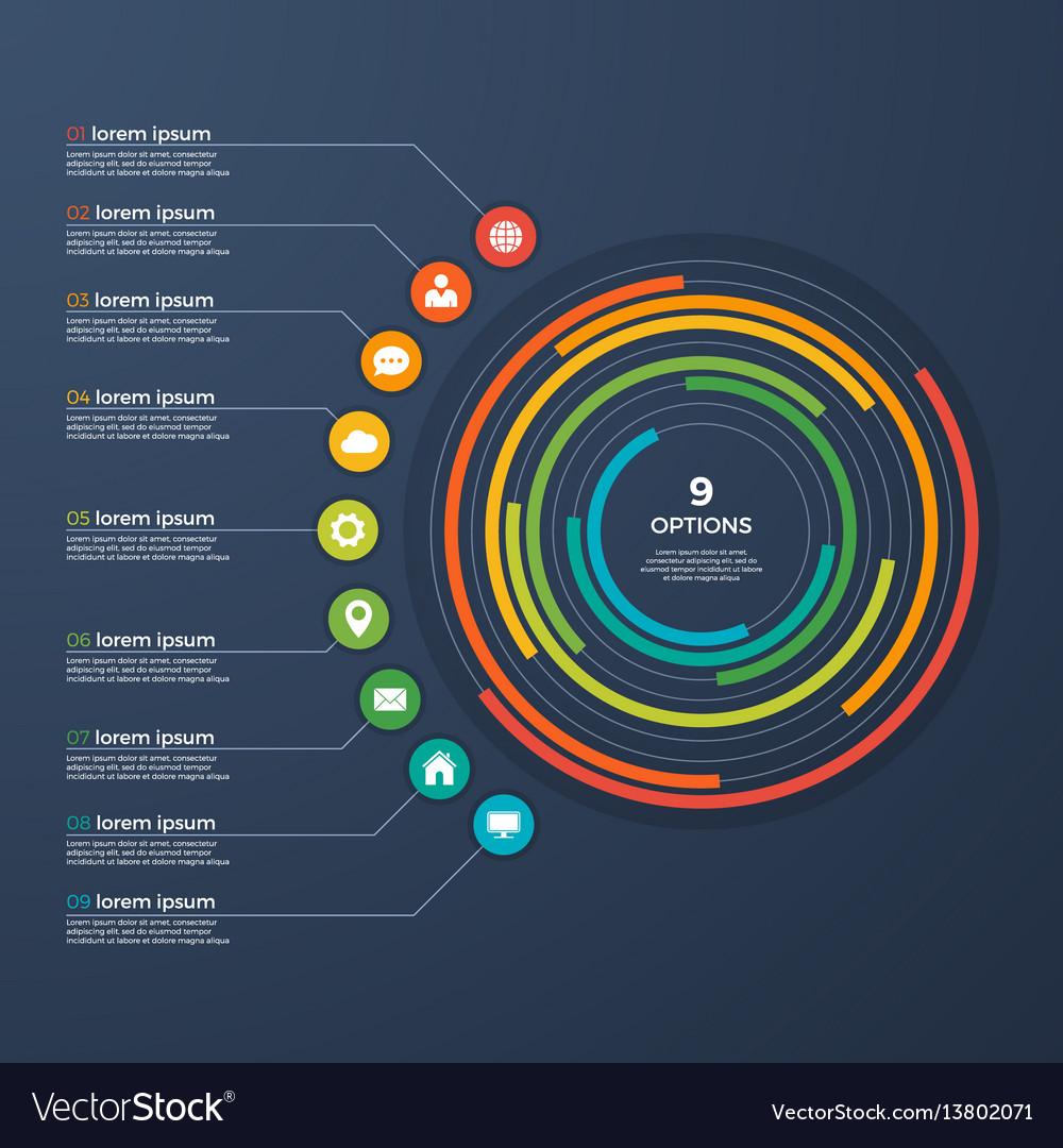 Presentation infographic circle chart 9 options