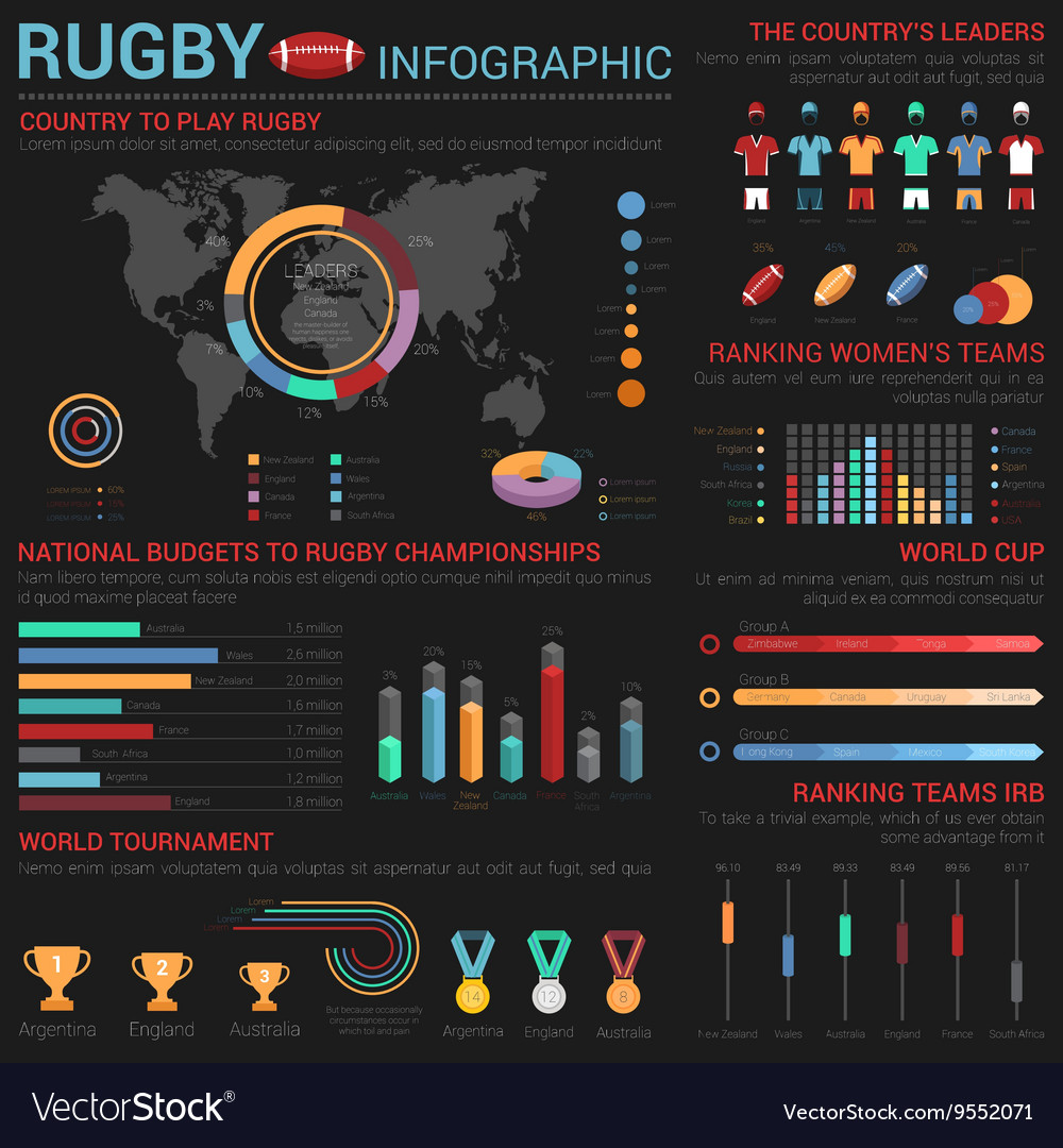 Rugby or american football infographic template