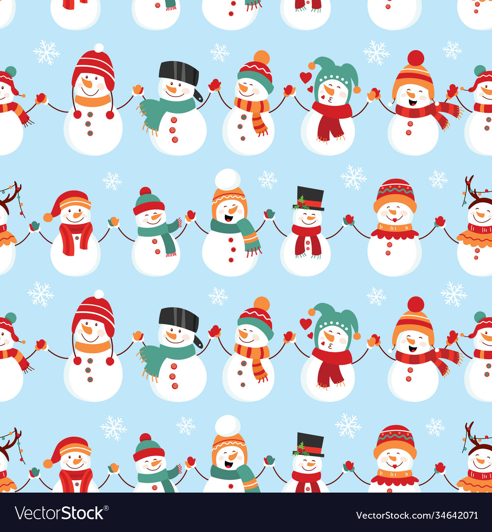 Seamless pattern with snowman design for wrapping