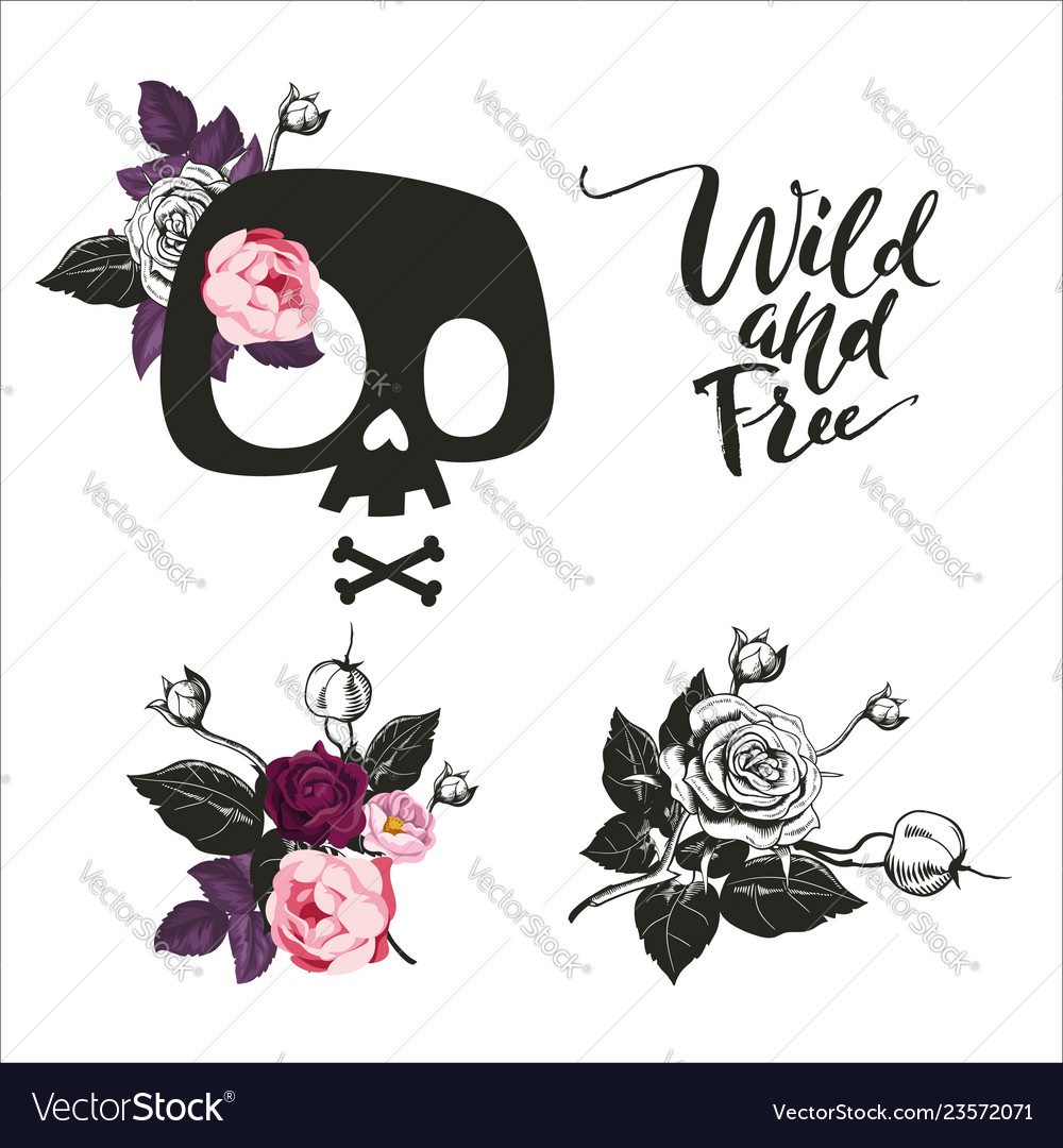 Set cute cartoon skull decorated with rose