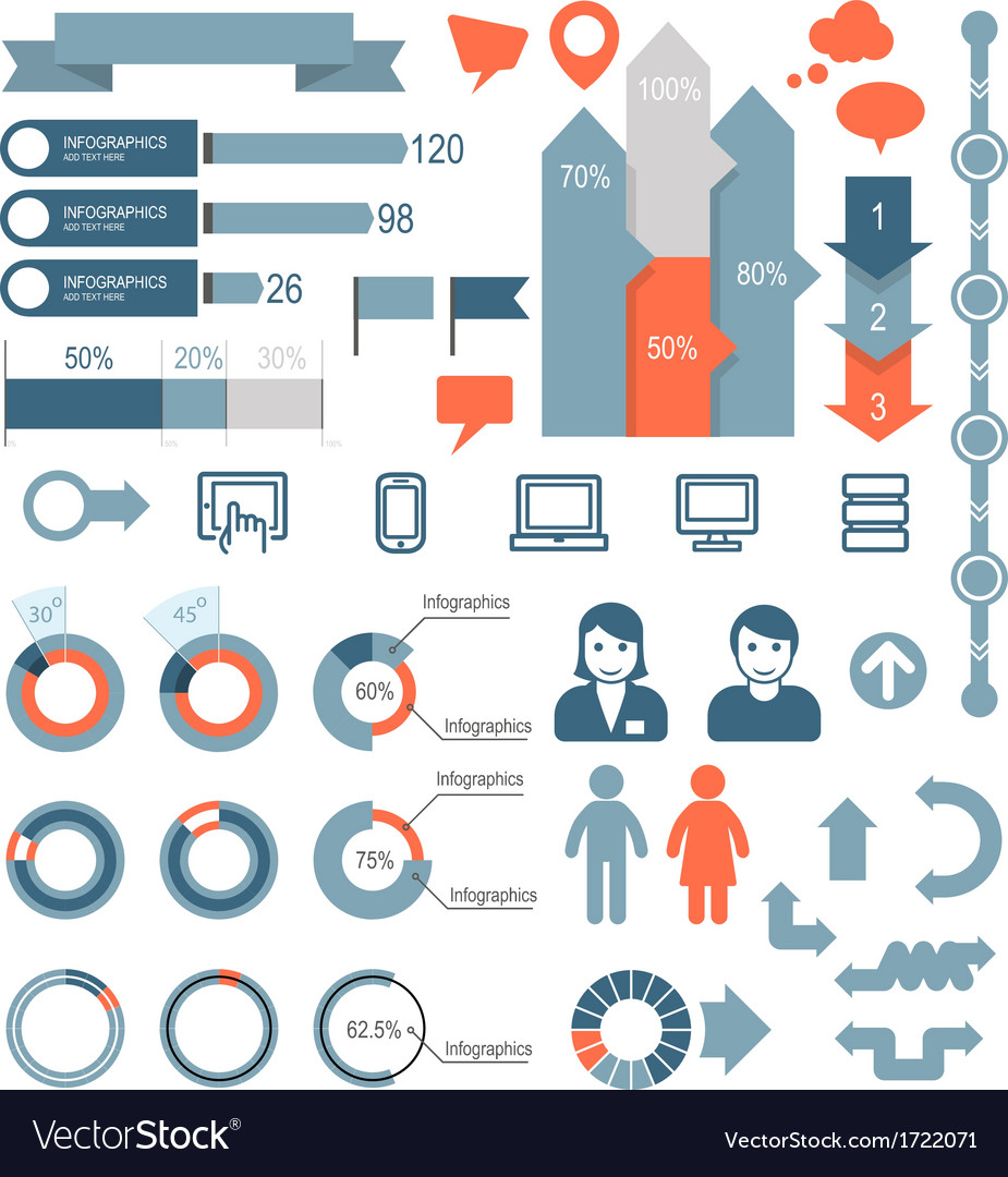 set of infographic elements and icons royalty free vector