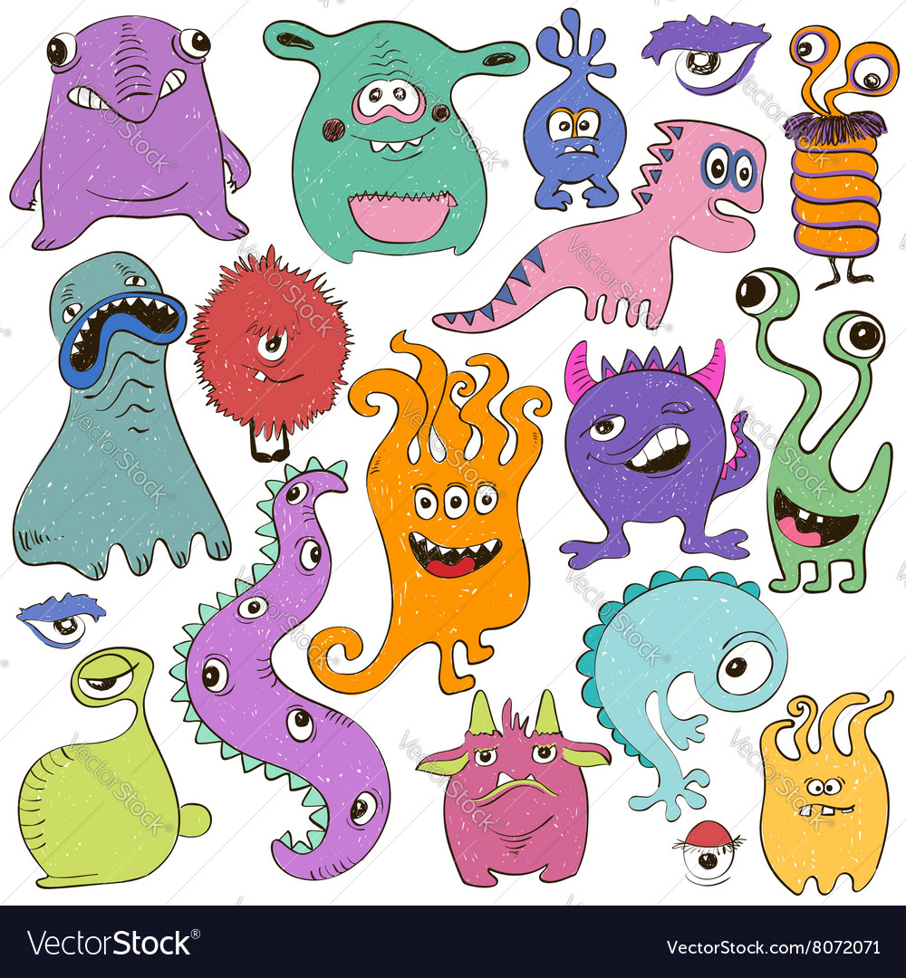 Set of isolated cartoon monsters