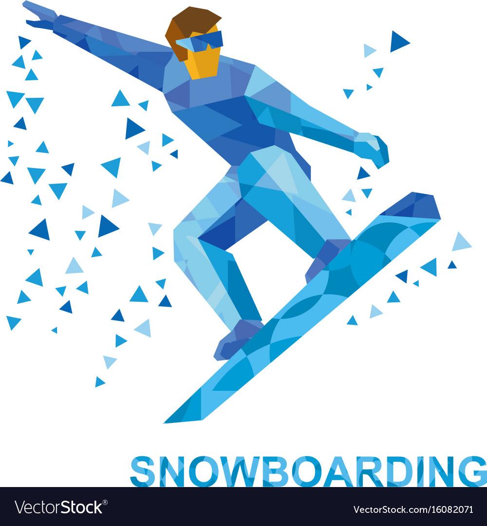 Snowboarding Cartoon Snowboarder During A Jump Vector Image