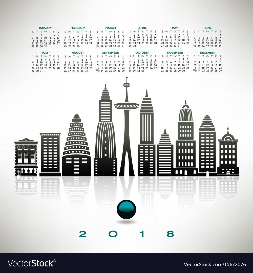 2018 calendar with a stylized cityscape