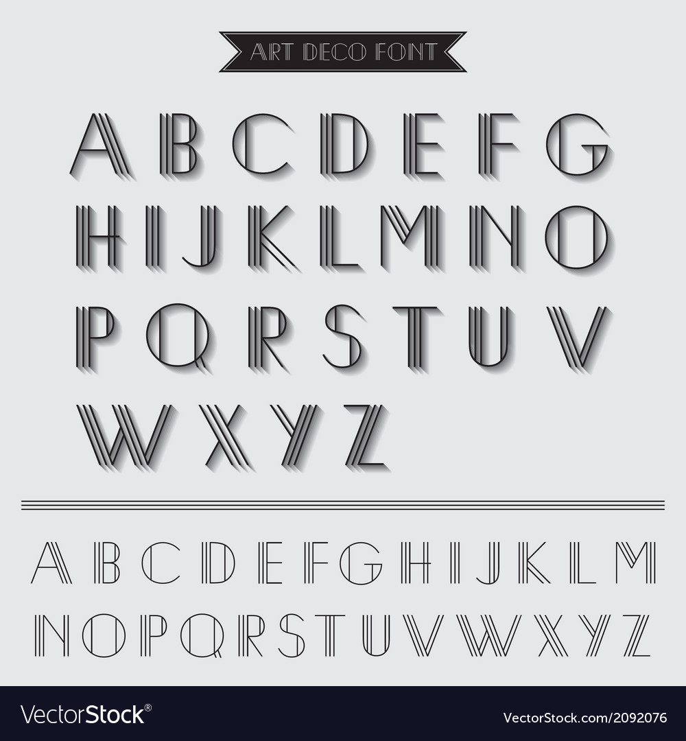 art deco type font vintage typography royalty free vector