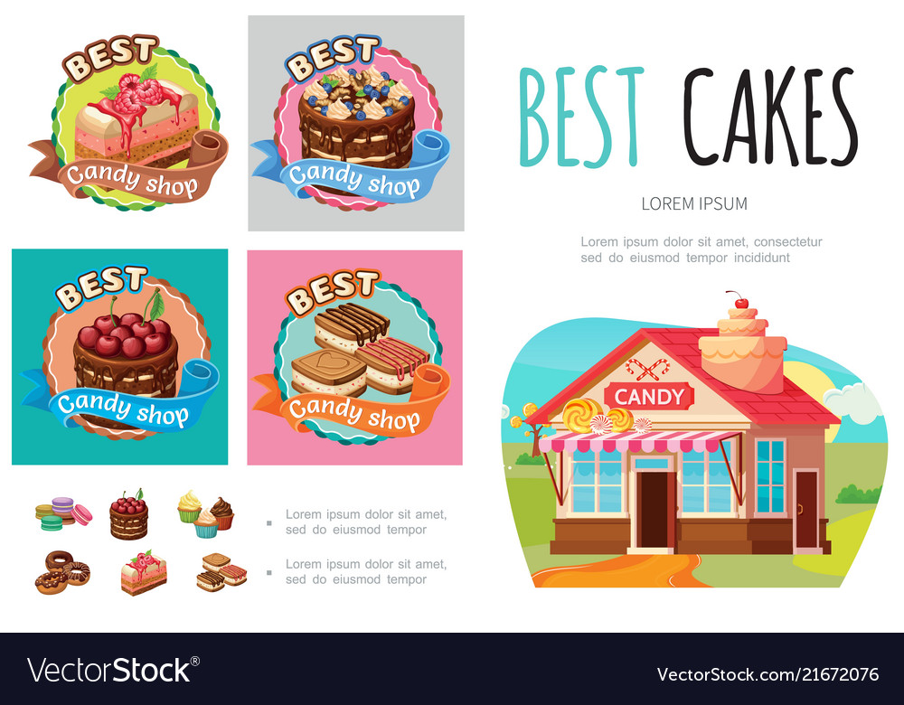 Cartoon sweet products infographic concept