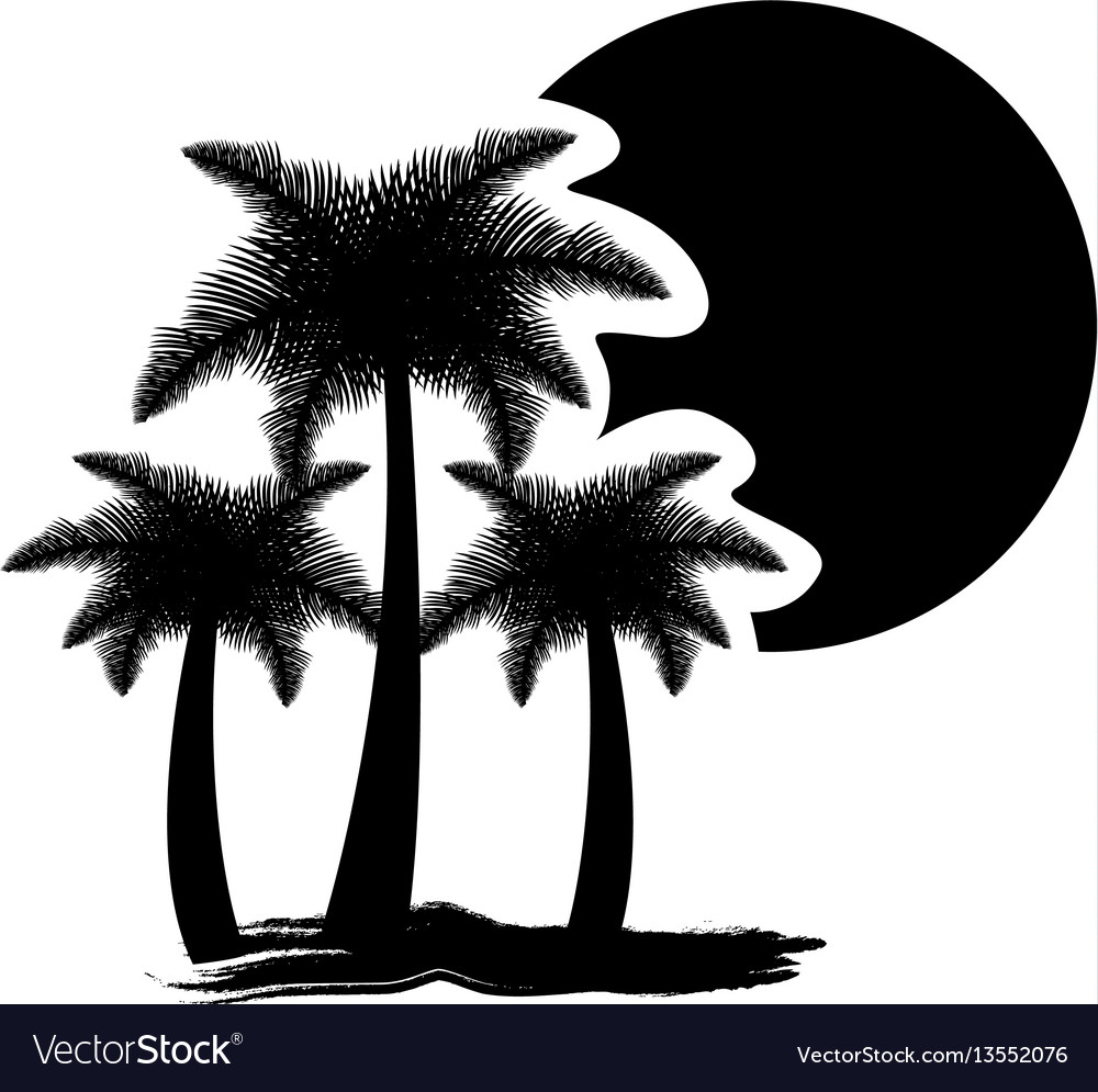 Dark contour palms with sun icon