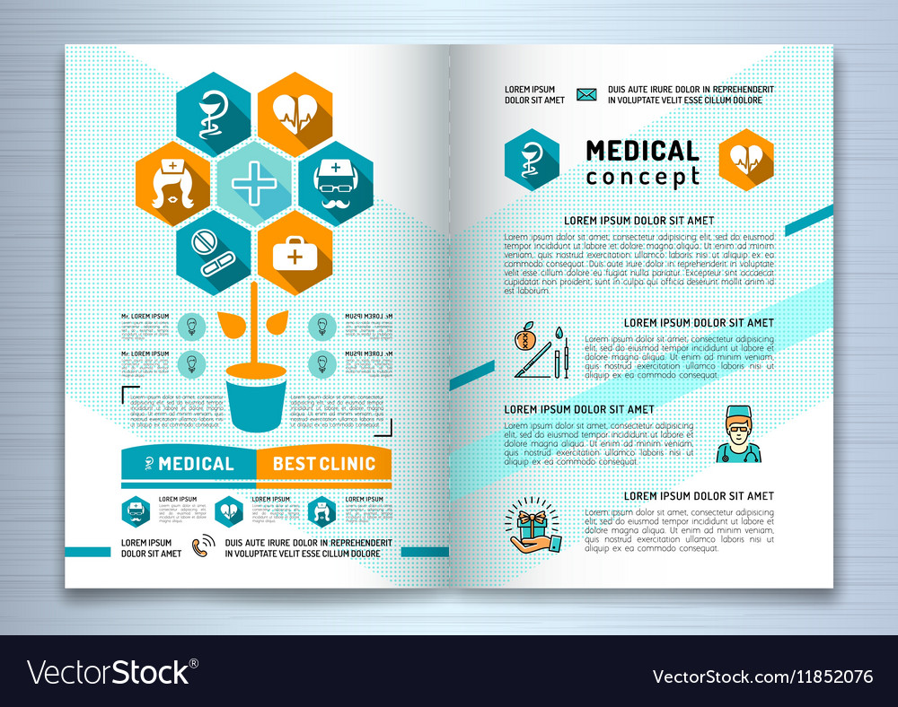 Design Medical Brochure Template A4 Size Catalog Vector Image
