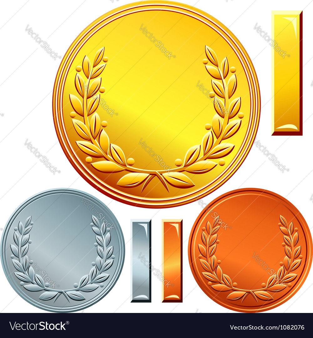 Gold silver and bronze coins