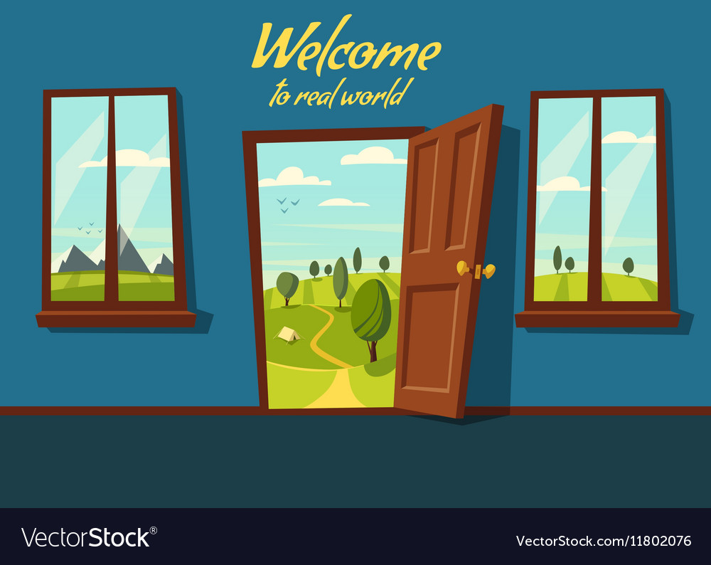 open door welcome blue open door valley landscape cartoon vector image royalty free vector image