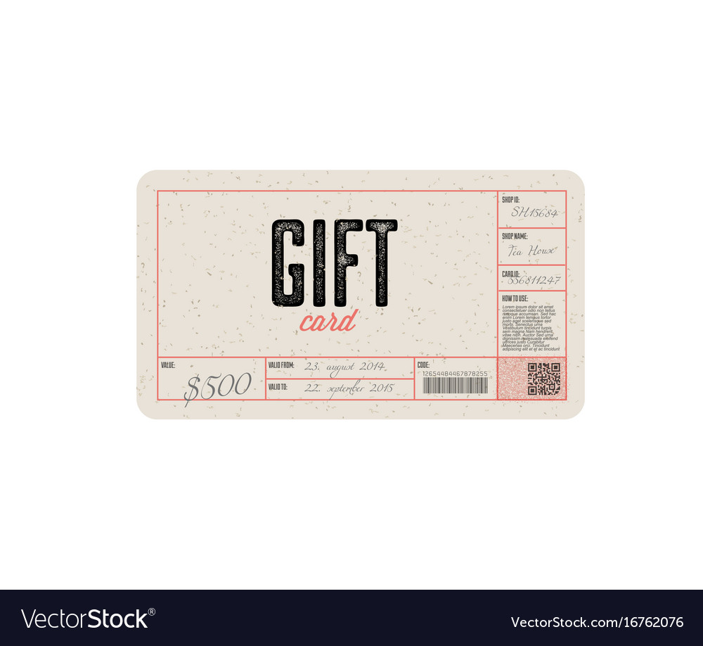 Retro gift card template